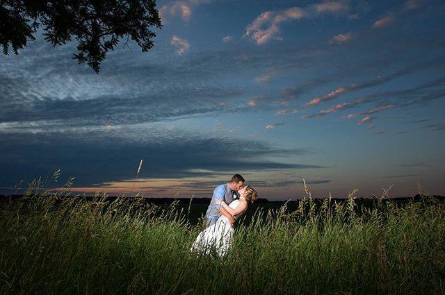 A moment in the spotlight 🔦 . . . . . #wedding #weddings #weddingphotography #weddingphotographer #barnwedding #michigan #sunset