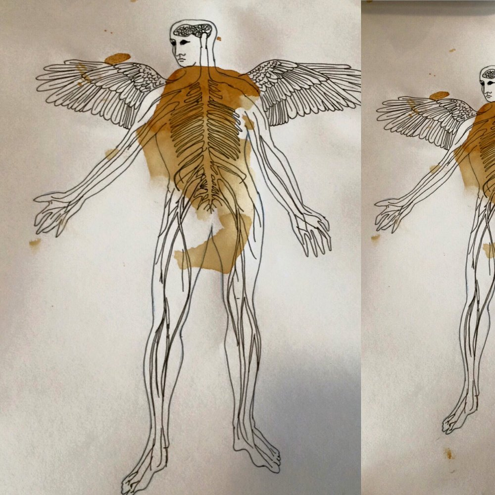 Playing with rust, yes iron. The human nervous system and some Icarus reference. Good art, bad art either way my nervous system does not know the difference. I will sleep well tonight.