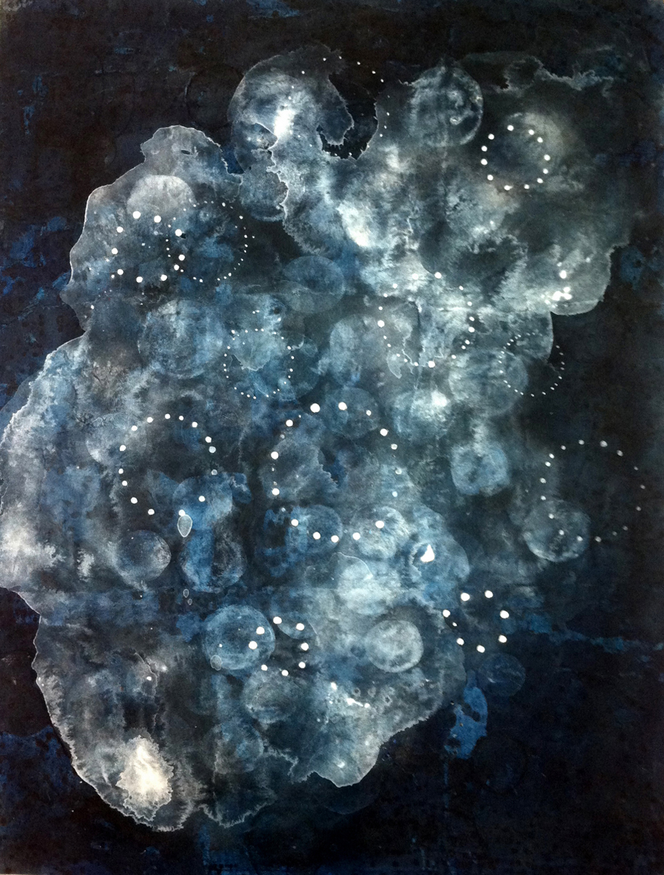 Cosmologies 2    30 x 22 inches  Acrylic on Paper  2012