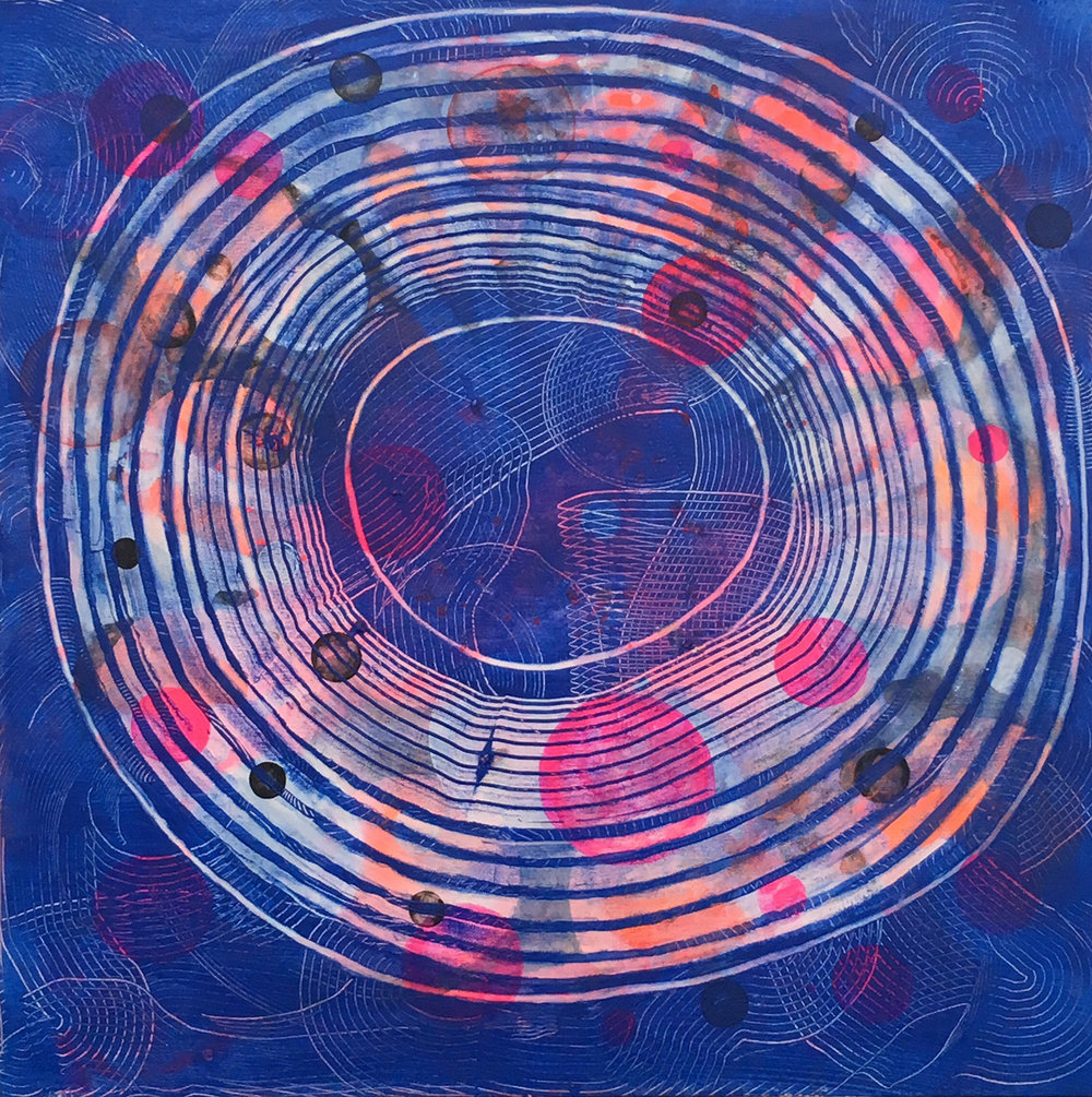 Circling   30 x 30 inches  Acrylic on Canvas  2017