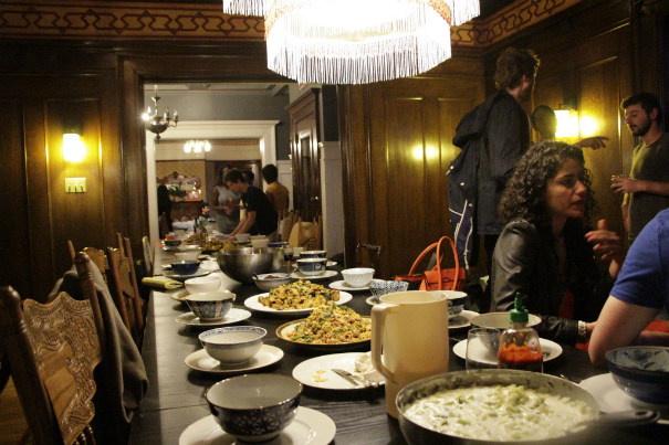 Communal meal laid out at the Embassy Network, San Francisco