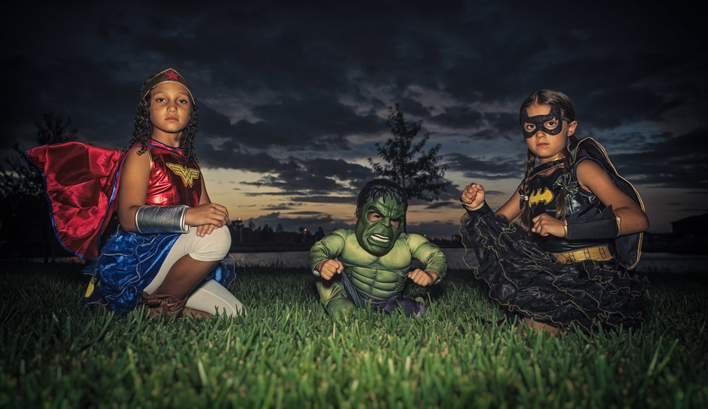 My 3 superheroes: Wonder Woman, Hulk and Batgirl!