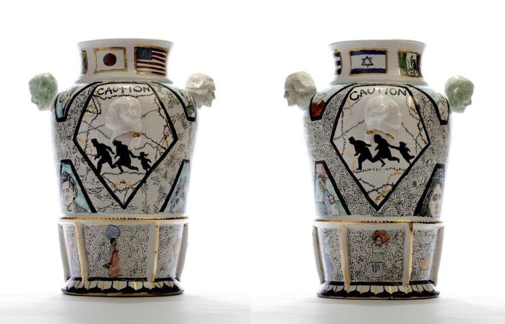 "Roberto Lugo, ""Century Vase III: American"" (2015), porcelain, glaze, china paint (photo courtesy of Wexler Gallery)"