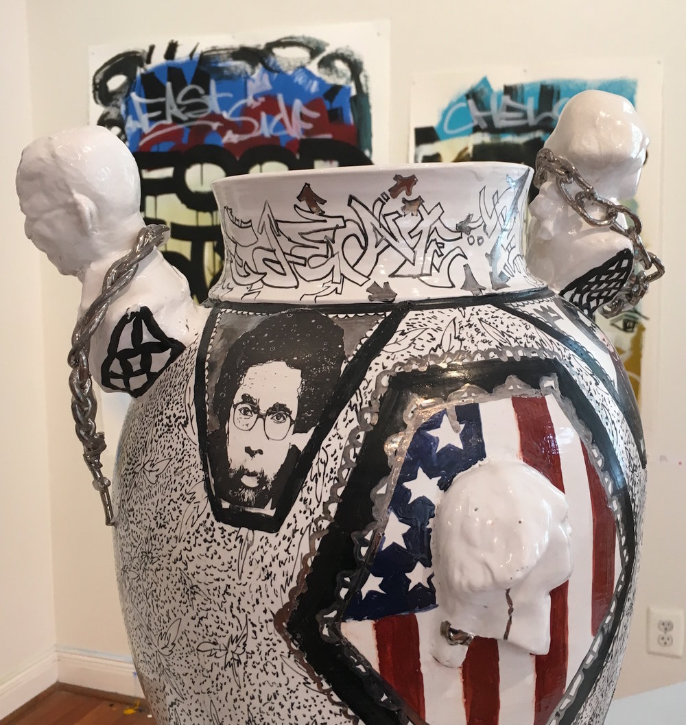 "Roberto Lugo, ""African Refugee Century Vase"" (2015) (photo by the author for Hyperallergic)"
