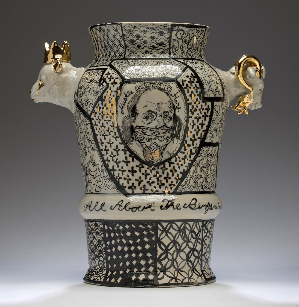 "Roberto Lugo, ""All about the Benjamins Century Vase"" (2016), porcelain, china paint, gold luster (photo by KeneK Photography, courtesy of Wexler Gallery) (click to enlarge)"