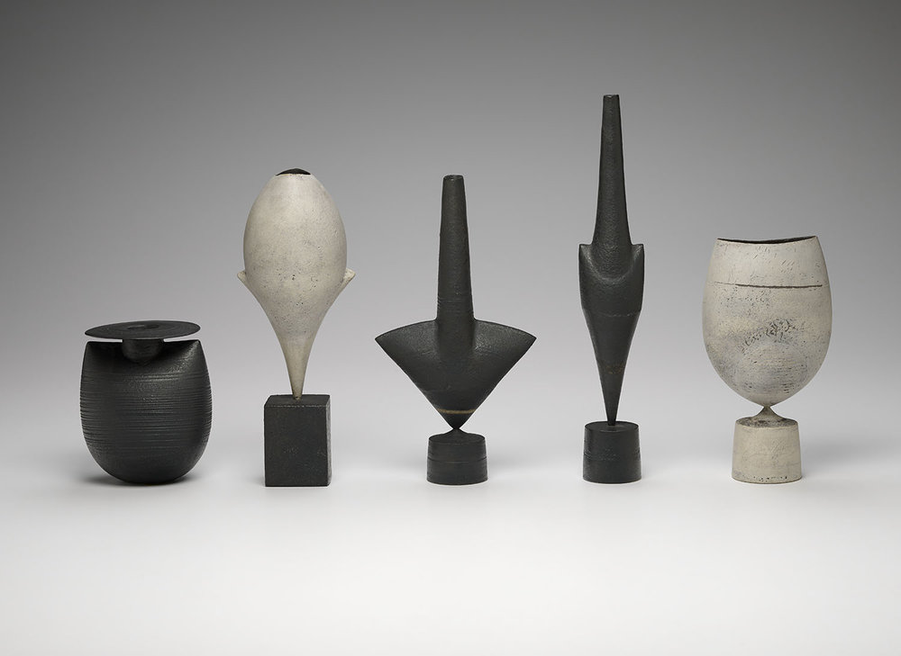 Hans Coper, Bottle with Disc and 4 Cycladic forms (ca. 1970–75), stoneware, ranging from 4 1/2 × 3 3/4 × 3 1/2 in to 11 3/4 × 2 × 1 3/4 in