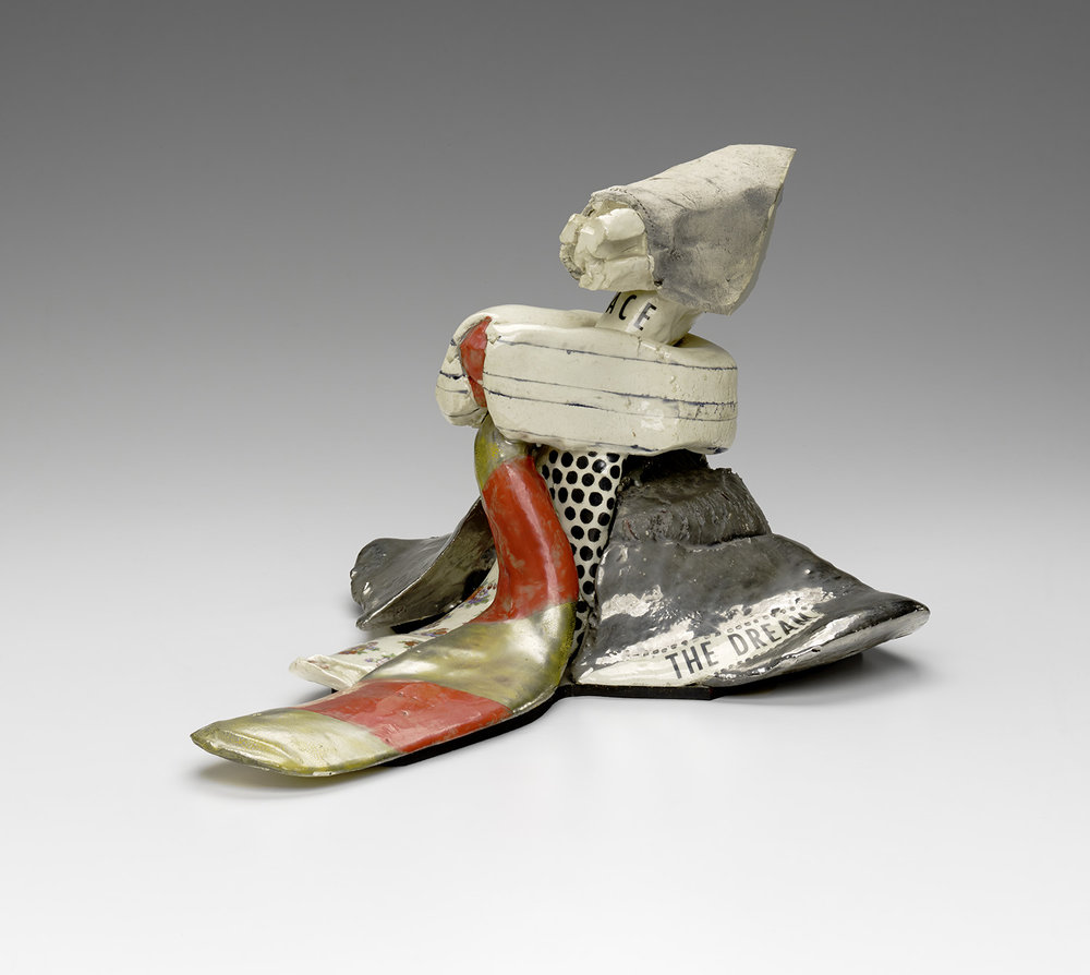 "Jim Melchert, ""The Dream"" (1967), stoneware with glaze, overglaze, luster, and decals, 11 x 14 x 17 1/2 in"