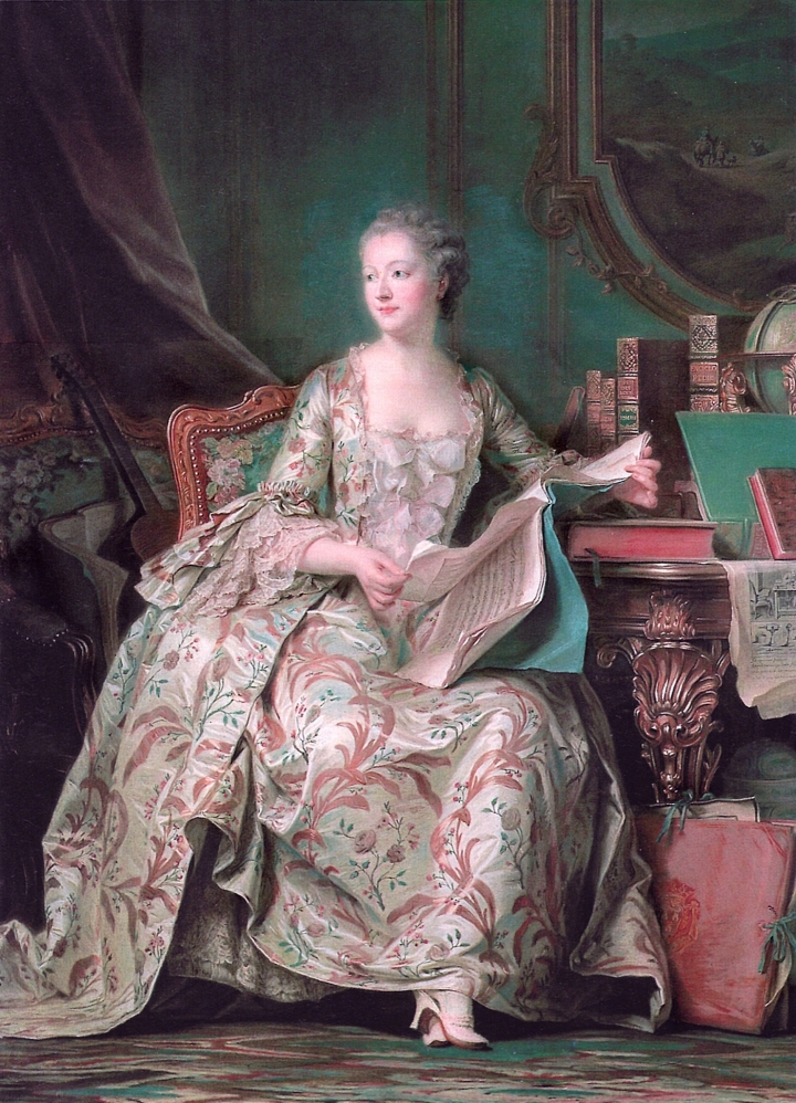 PORTRAIT OF MADAME DE POMPADOUR BY MAURICE QUENTIN DE LA TOUR, PAINTED BETWEEN 1748 AND 1755, MUSÉE DU LOUVRE (VIA WIKIMEDIA)