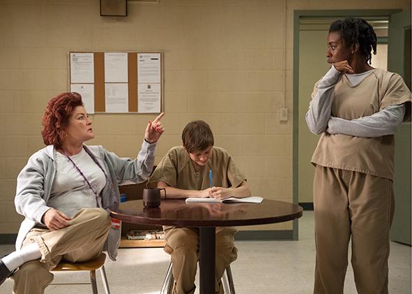 Kate Mulgrew, Abigail Savage, and Uzo Aduba in Season 3 of  Orange Is the New Black. (Photo by JoJo Whilden/Netflix)