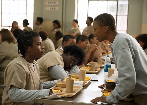 Uzo Aduba and Samira Wiley in Season 3 of  Orange Is the New Black.  (Photo by JoJo Whilden/Netflix)