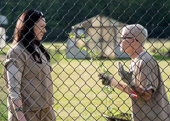 Laura Prepon and Lori Petty in Season 3 of Netflix's  Orange Is the New Black.  (Photo by JoJo Whilden/Netflix)
