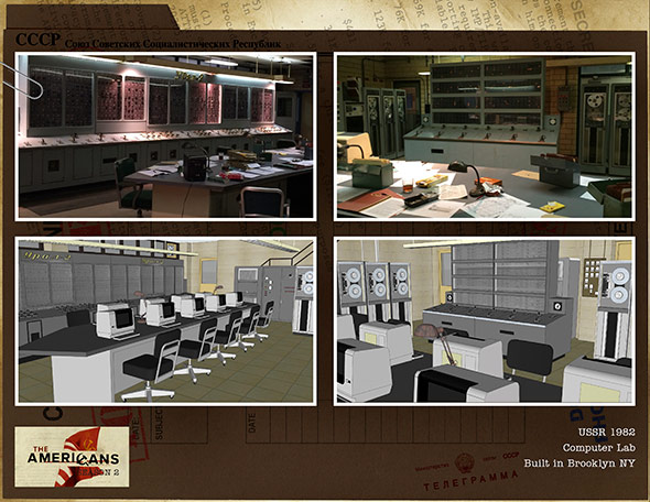 The design for a Soviet computer lab in Season 2. Courtesy of John Mott