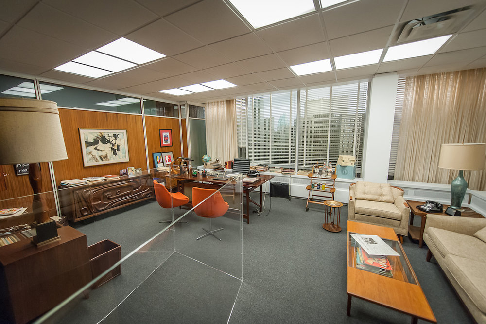 The set for Don Draper's office, featured in seasons 4–6 of 'Mad Men' (photo by Thanassi Karageorgiou, courtesy the Museum of the Moving Image)
