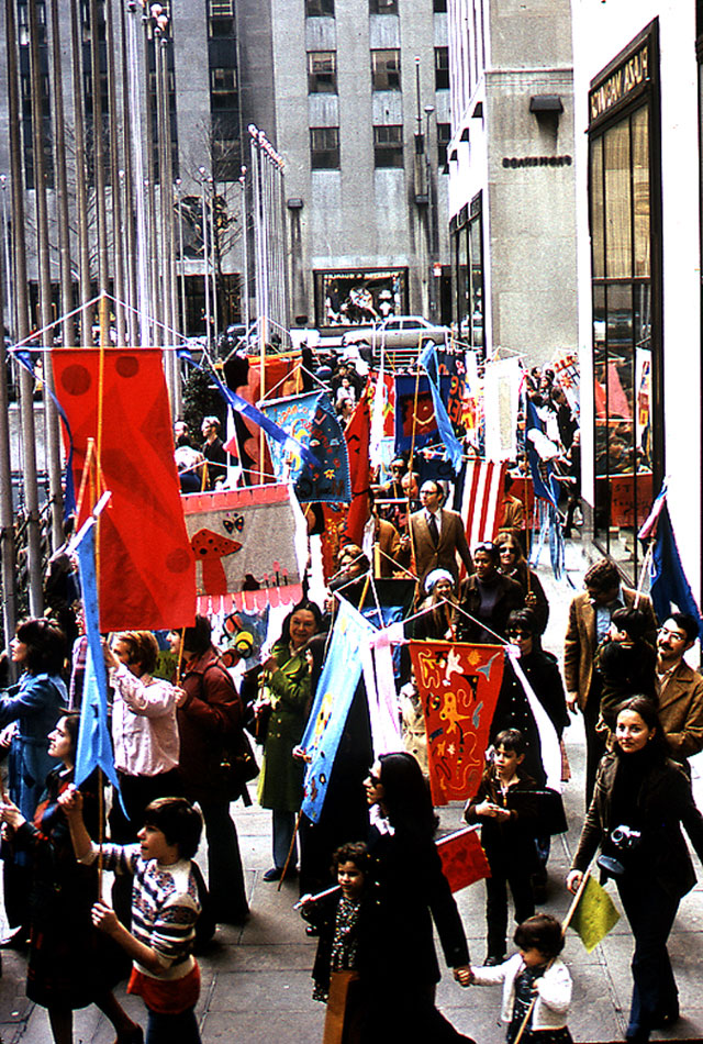 Parade in midtown Manhattan at end of 'Make a Banner-Fly a Banner,' 1973 (photo courtesy American Craft Council)