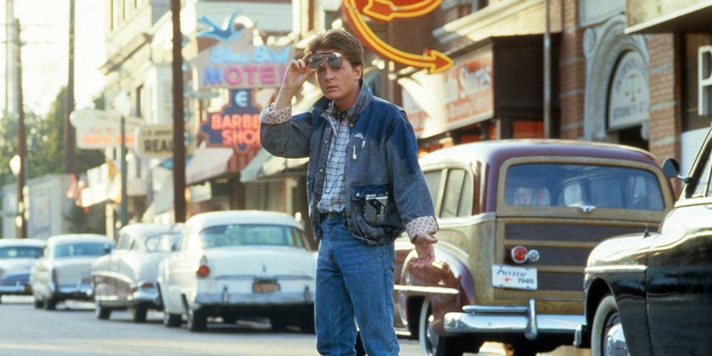 Marty McFly in Hill Valley, 1955 (image via  Huffington Post )