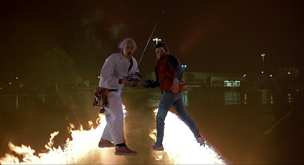 Doc and Marty just after the test run, 1985 (image via  moeatthemovies.com ) (click to enlarge)