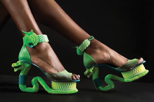 Extreme Serpent shoes designed by Michaella Janse van Vuuren, 2014, for her Garden of Eden collection. The shoes were customized for the model wearing them by Uformia 3D in Norway and printed by Stratasys Connex3 in Israel. Merwelene van der Merwe studio photo.
