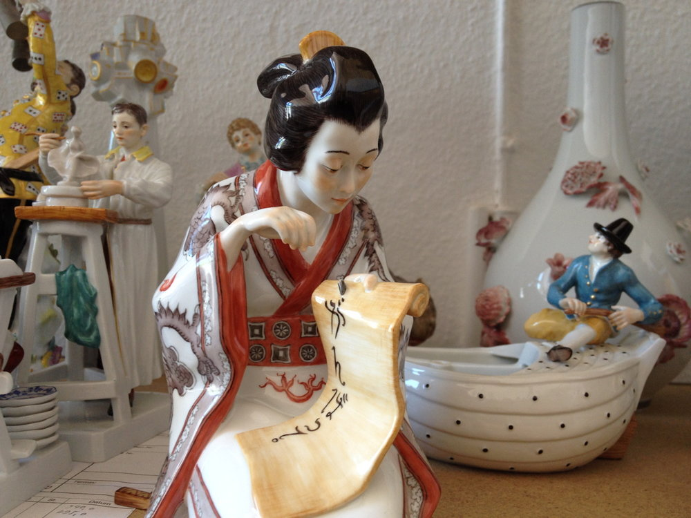 Porcelain figurines at Meissen (click to enlarge)
