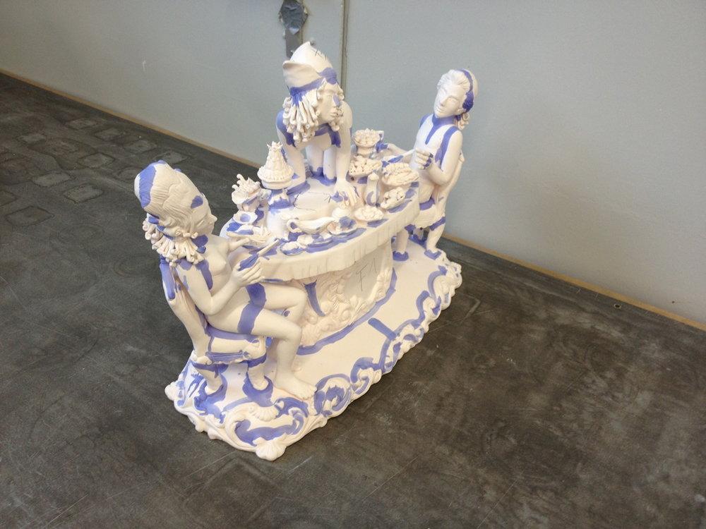 Antemann's work being glazed
