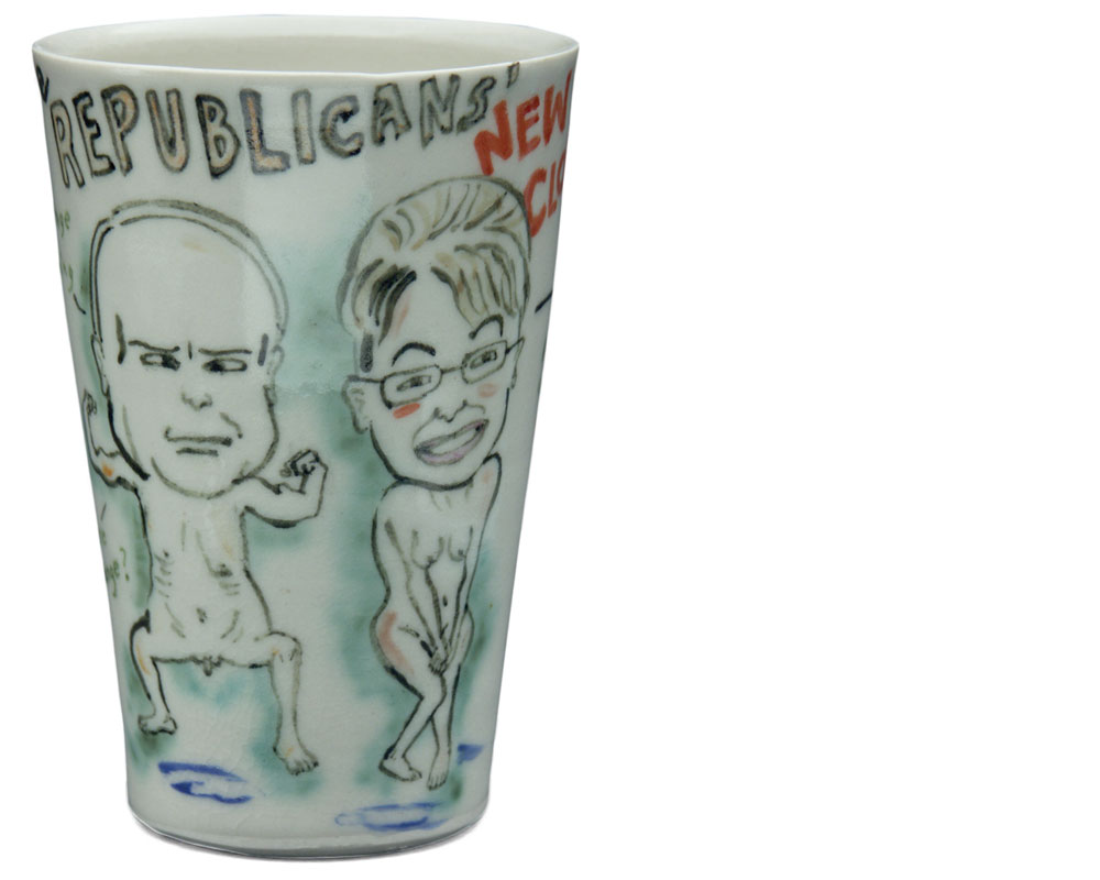 Beth Lo   The Republicans' New Clothes, Obamaware, 2008, porcelain {h. 7.25 in, w. 3.5 in, d. 3.5 in}.
