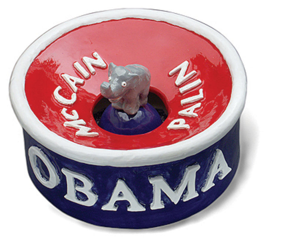 Peter Morgan  Obamaware spittoon, 2008, clay {h. 4.5 in, w. 10.5 in, d. 10.5 in}.