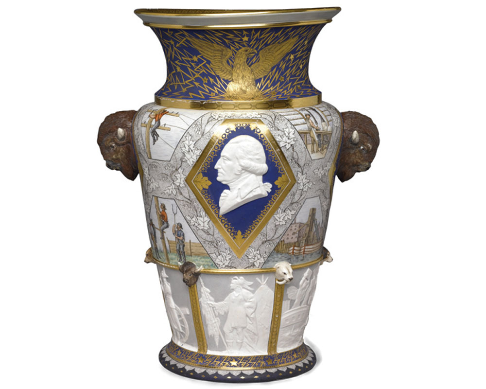 Karl Muller   Century Vase, 1876, porcelain {h. 24.25 in, w. 10 in}.