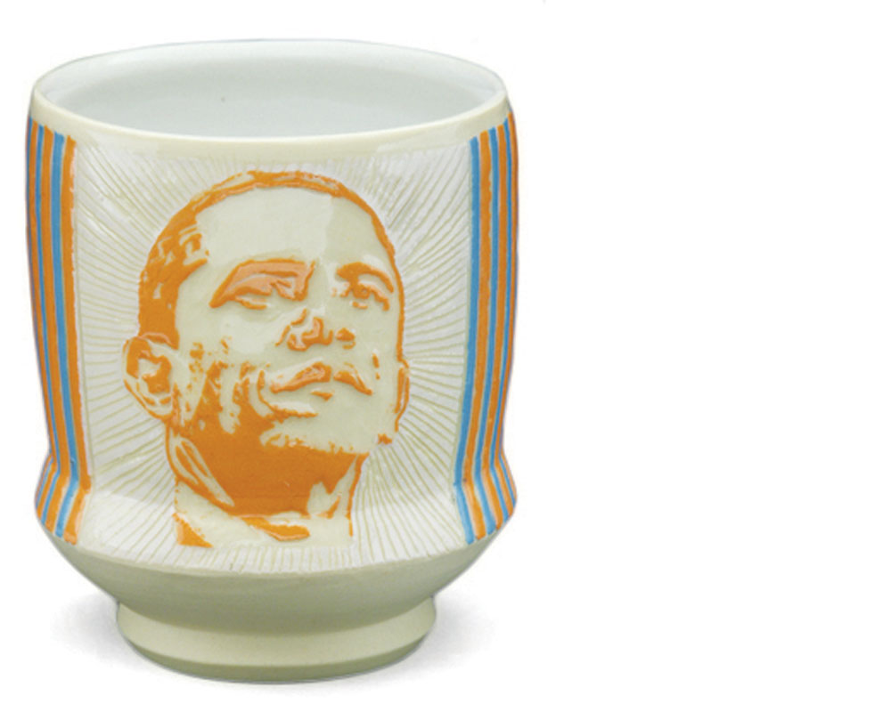 Janice Jakielski  Obamaware cup, 2008, porcelain {h. 4 in, w. 3.5 in, d. 3.5 in}.