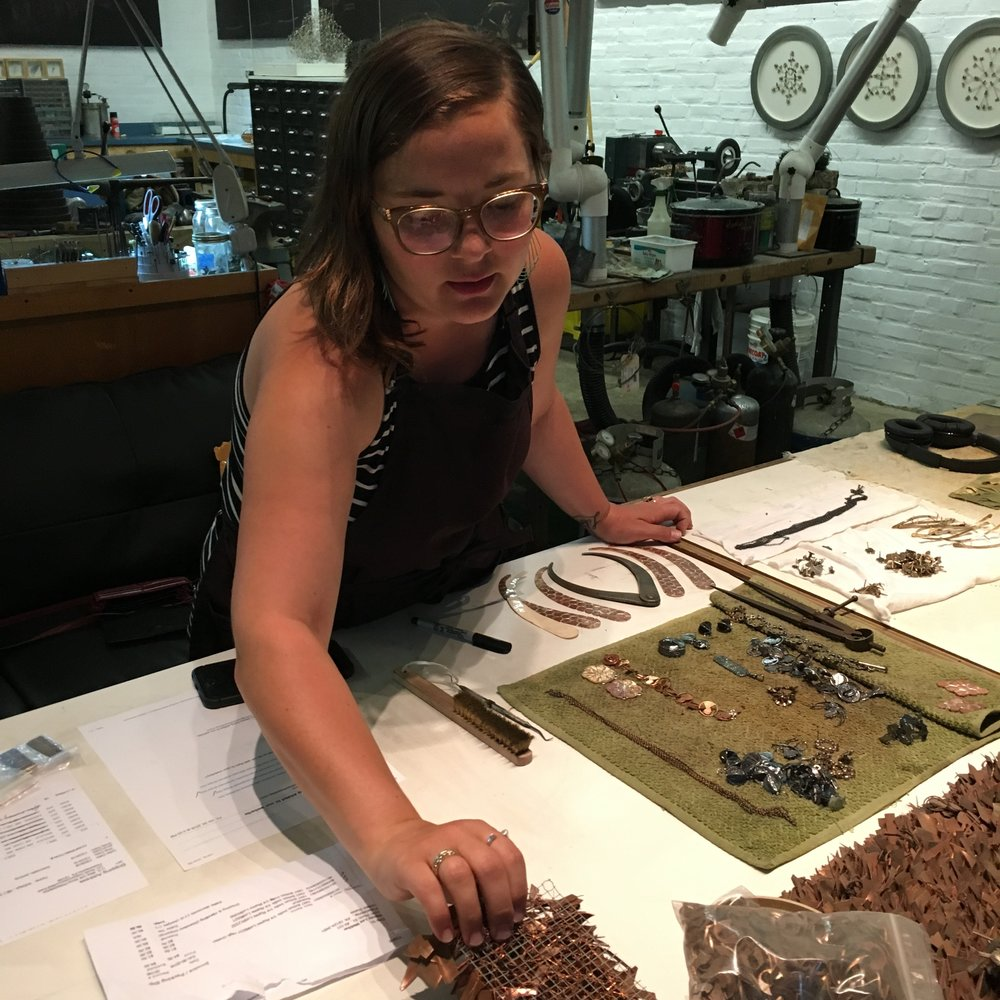 Stacey Lee Webber at work in her studio at Philadelphia's Globe Dye Works