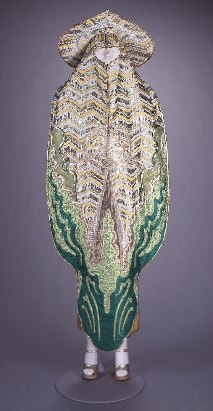 "Kaisik Wong, ""Yellow and Green Ray Dress and Headdress,"" from the Seven Ray series (1974), yellow, gold, and green lamé (courtesy of the DeYoung Museum)"