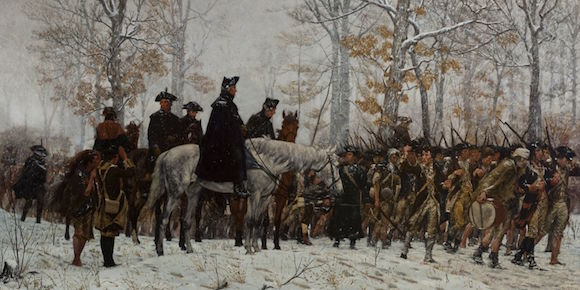 The March to Valley Forge, December 19, 1777 , was painted by William B.T. Trego in 1883.