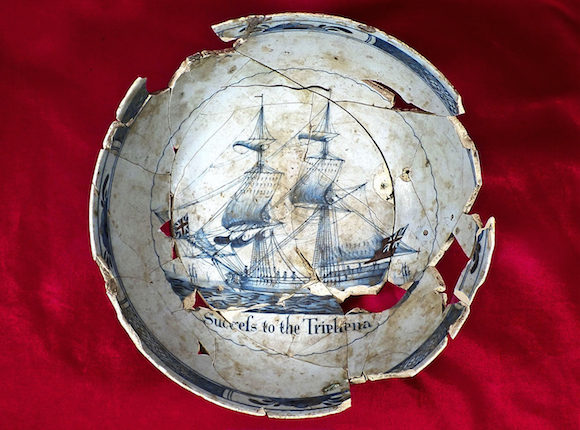 English ceramic punch bowl decorated with the ship  Triphena , 1760s.