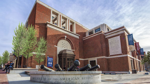 The exterior of the Museum of the American Revolution features a carved excerpt of the Declaration of Independence.