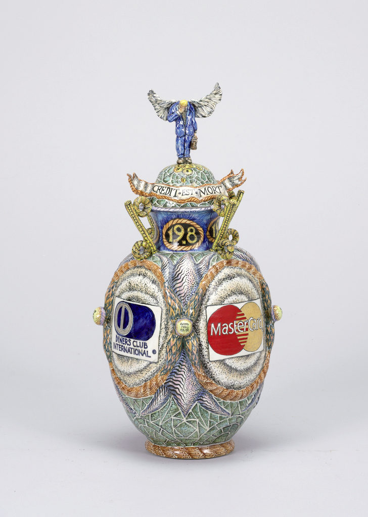 """Credit Card Reliquary Vase and Lid"" by Matt Nolen, porcelain, 1991.  Museum purchase from Decorative Arts Association Acquisition Fund. Image courtesy of the Cooper Hewitt Smithsonian Design Museum."