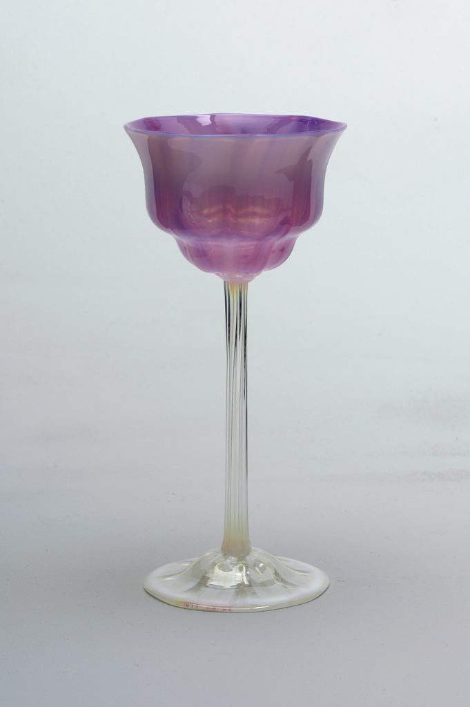 Wine Glass, mouth-blown favrile glass, ca. 1900, Tiffany Glass and Decorating Company.  Bequest of Joseph L. Morris. Image courtesy of the Cooper Hewitt Smithsonian Design Museum.