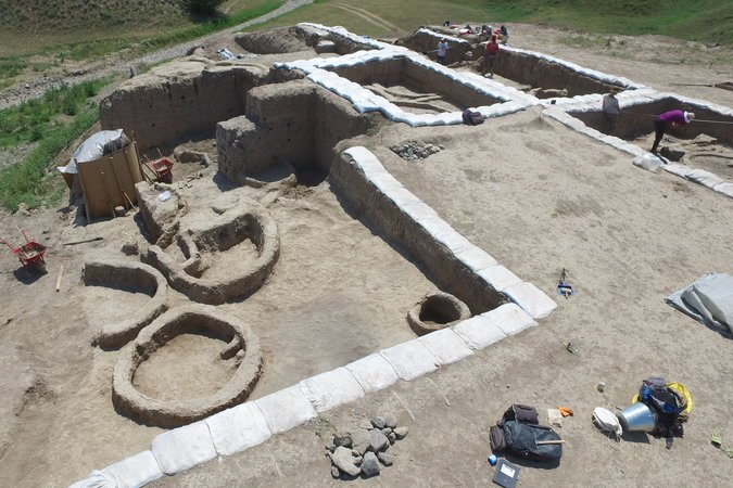 The excavations at the Gadachrili Gora site in Georgia.  Photograph by Stephen Batiuk.