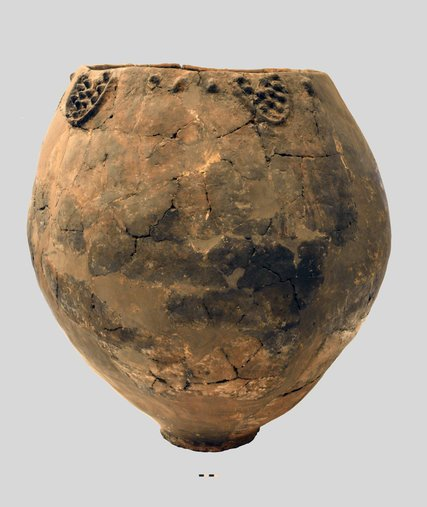 A Neolithic jar found at the site of Khramis-Didi-Gora in Georgia, on display at the Georgian National Museum. Photograph by Mindia Jalabadze/Georgian National Museum.