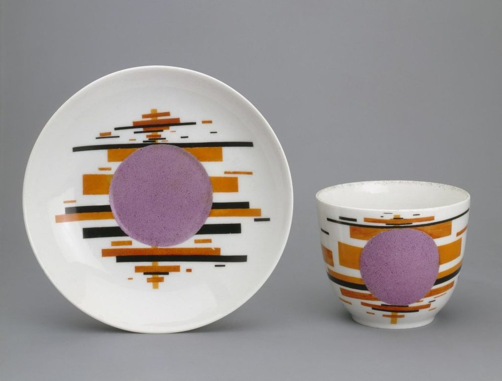Cup and Saucer with a Lilac Disc, designed and painted by Ilya Chashnik.  State Porcelain Factory, 1923-24, USSR. Hermitage Museum, transferred in 2002 as part of the collection of the Museum of the Imperial Porcelain.