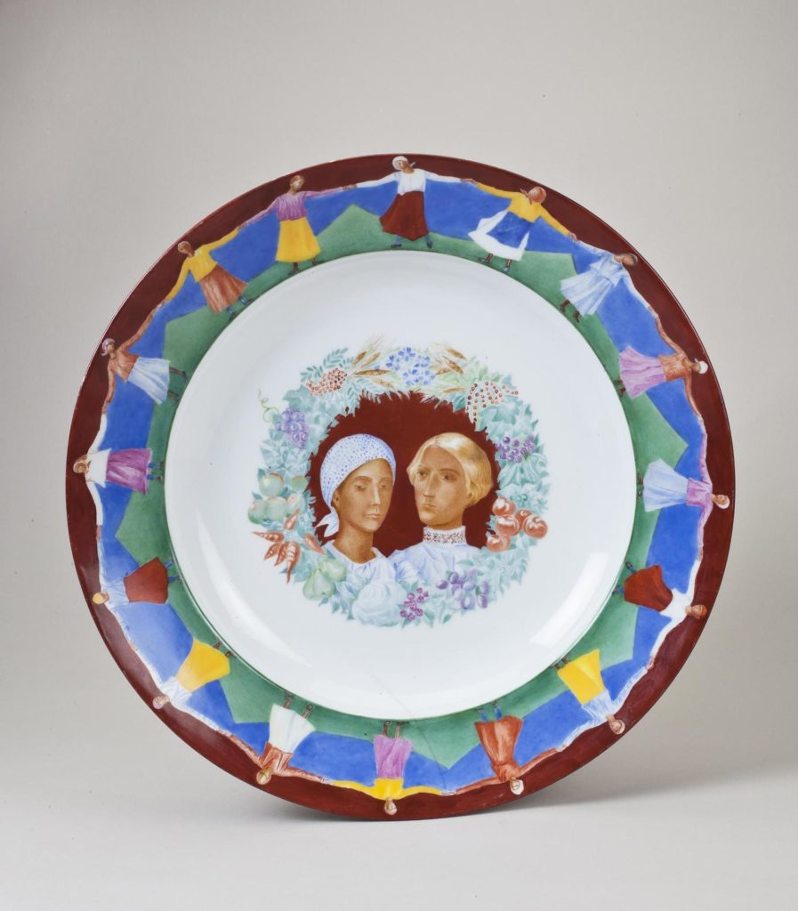 """The Wedding,"" designed by Kuzma Petrov-Vodkin, painted by Ivan Nazarov, 1923.  State Porcelain Factory, USSR, 1921. Hermitage Museum, transferred in 2002 as part of the collection of the Museum of the Imperial Porcelain."