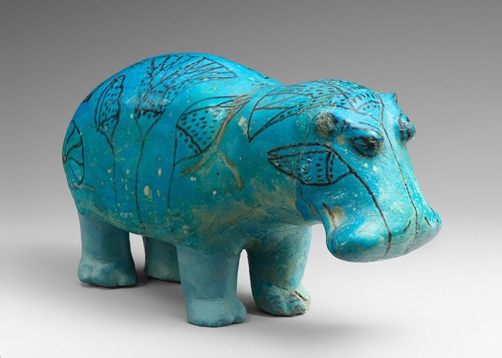 William the hippopotamus. Middle Kingdom, Dynasty 12, reign of Senwosret I to Senwosret II (ca. 1961–1878 B.C.). Faience. From Egypt, Meir, tomb B3; Said Bey Khashaba excavations, 1910.  The Metropolitan Museum of Art, New York, Gift of Edward S. Harkness, 1917.