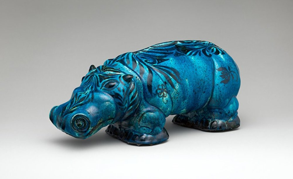 Hippopotamus, 1936 by Carl Walters (American, 1883–1955). Glazed earthenware, 7 3/4 x 18 1/8 in. (19.7 × 46 cm).  The Metropolitan Museum of Art, New York, Purchase, Friends of the American Wing Gift, 2017.