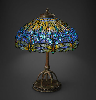 Tiffany Studios Dragonfly table lamp attributed to Clara Driscoll.  Image Courtesy of the New York Historical Society.