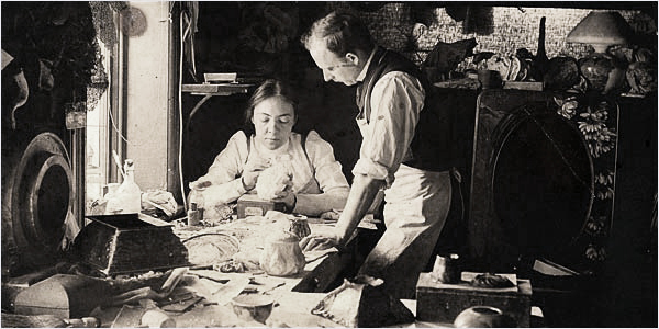 Clara Driscoll in a workroom with fellow Tiffany employee Joseph Briggs, 1901.  Image courtesy of the Department of American Decorative Arts, the Metropolitan Museum of Art, New York.