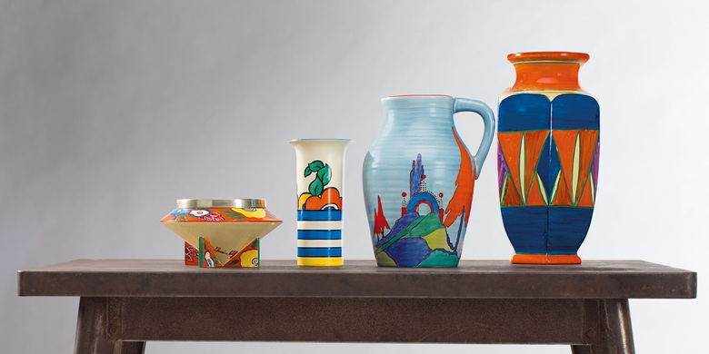 Cliffe vessels offered in Clarice Cliff Ceramics: The André Aerne Collection, sold to benefit the Muskegon Museum of Art, 14-25 August 2017, Online. Courtesy of Christie's.