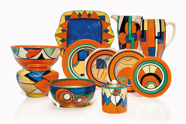 A group of Clarice Cliff tableware offered in Clarice Cliff Ceramics: The André Aerne Collection, sold to benefit the Muskegon Museum of Art, 14-25 August 2017, Online. Courtesy of Christie's.