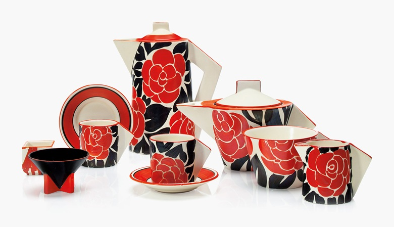 A Clarice Cliff six-piece tea and coffee service, second quarter 20th century, offered in Clarice Cliff Ceramics: The André Aerne Collection, sold to benefit the Muskegon Museum of Art, 14-25 August 2017, Online. Courtesy of Christie's.