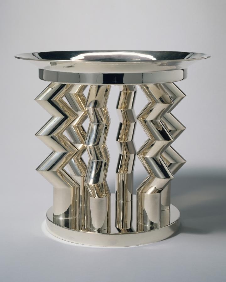 "Ettore Sottsass, ""Murmansk"" fruit dish (1982), silver (courtesy Met Breuer)"