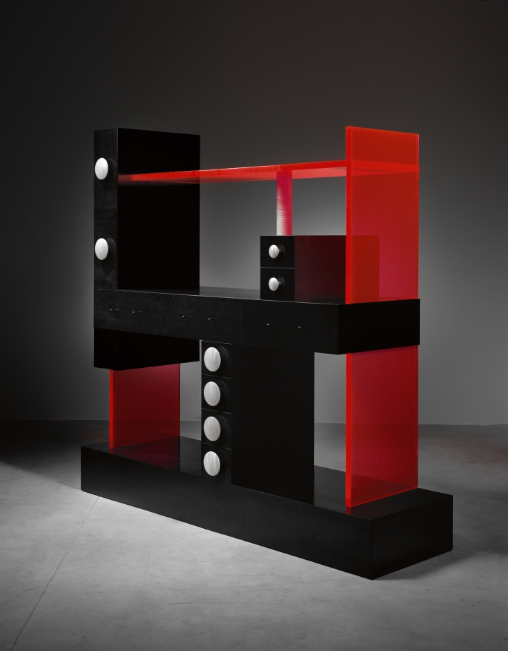 Ettore Sottsass, Cabinet No. 56 (2003), wood, ebonized pearwood veneer, acrylic (courtesy Met Breuer)