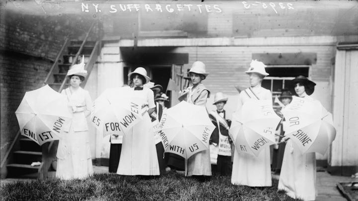 Rain or Shine , ca. 1910; photograph of a group of New York suffragettes, Bain News Service, publisher George Grantham Bain Collection, Library of Congress, Washington, DC