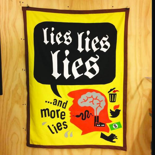Stephanie Syjuco,  Lies, Lies, Lies , 2017, banner. Courtesy of Stephanie Syjuco