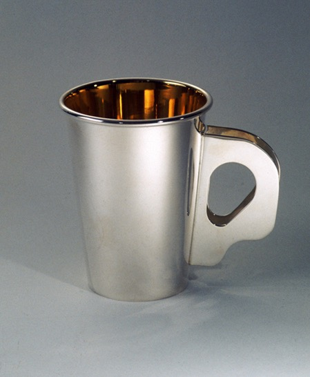"Ubaldo Vitali for Bulgari, ""Dixie Cup"" (ca. 1980) sterling silver mug (photo by Gene Young, courtesy Newark Museum)"